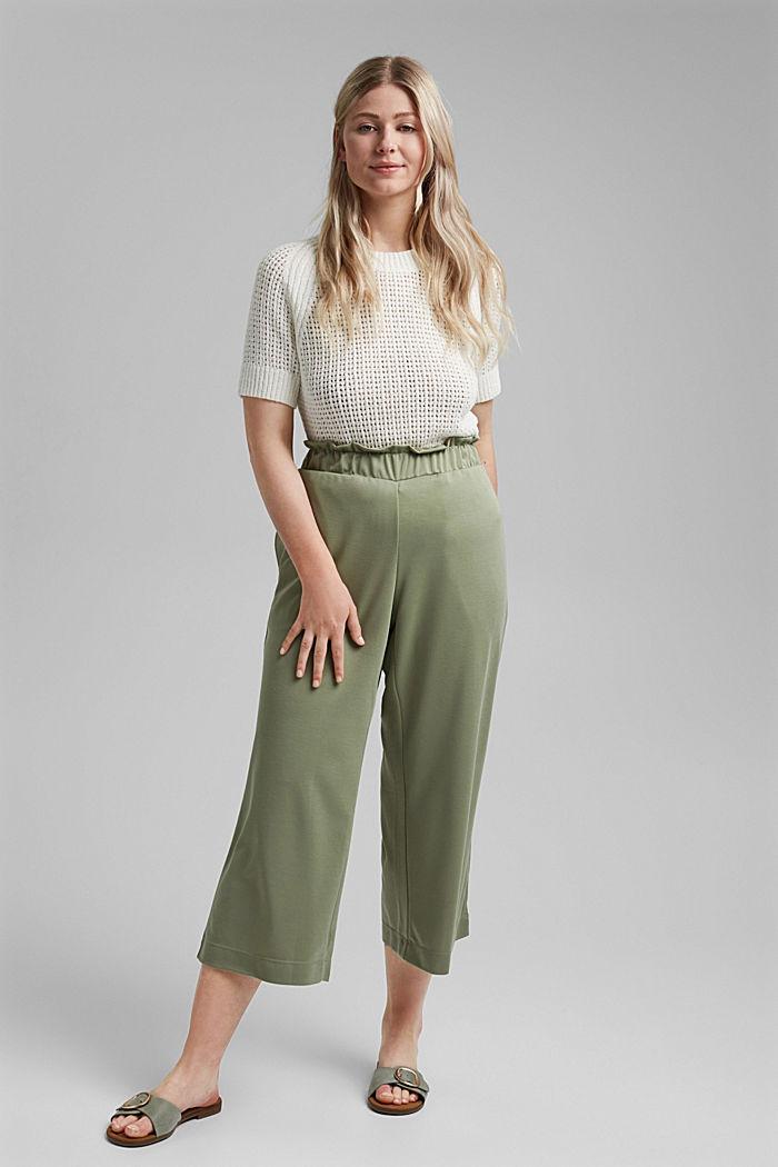 CURVY modal blend: flowy culottes, LIGHT KHAKI, detail image number 1