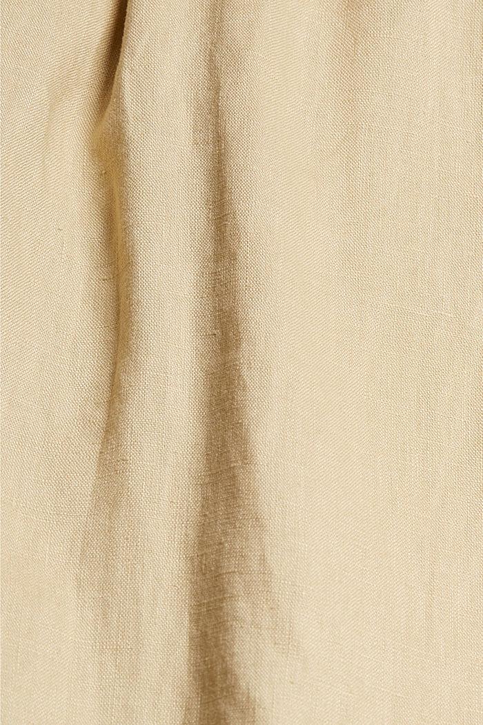 CURVY lino: pantalón culotte con cintura elástica, SAND, detail image number 4