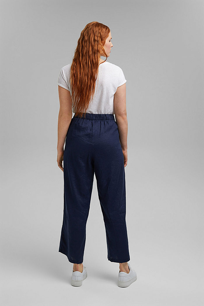 CURVY linen: culottes with an elasticated waistband, NAVY, detail image number 3