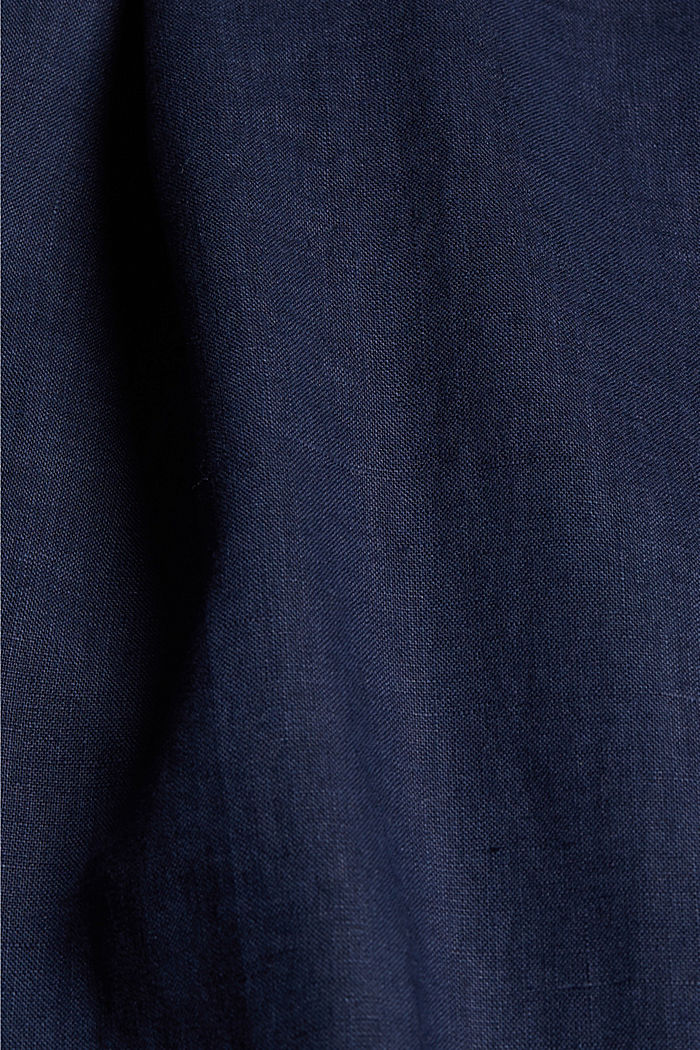 CURVY linen: culottes with an elasticated waistband, NAVY, detail image number 1