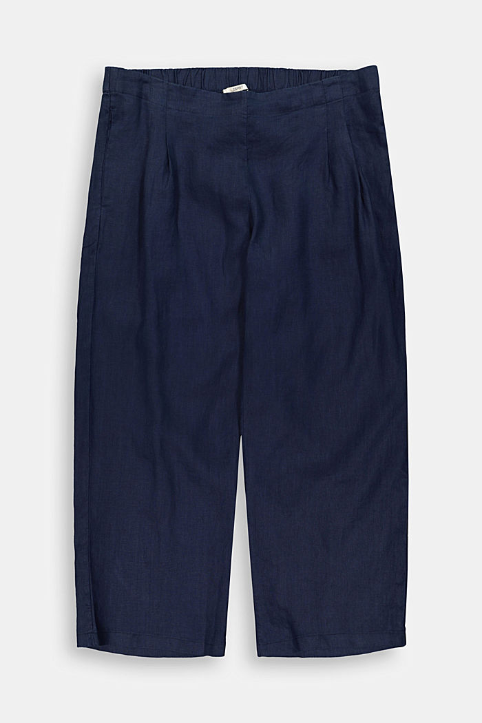 CURVY linen: culottes with an elasticated waistband