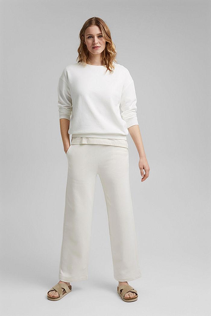 Pantalon de jogging à jambes larges, 100% coton, OFF WHITE, detail image number 1