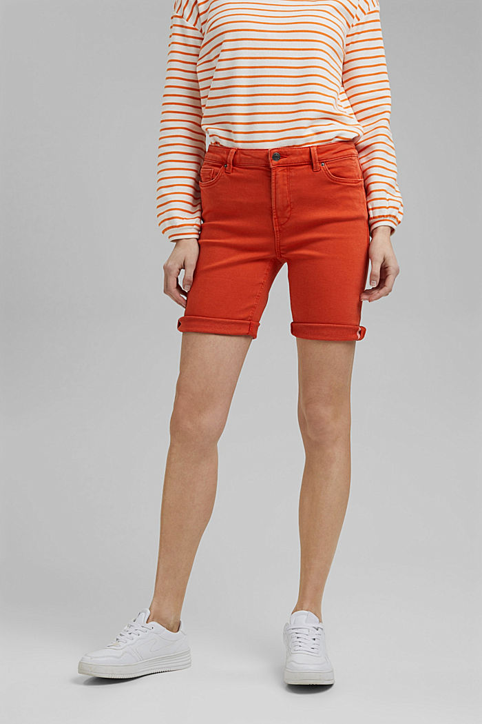 Jogger shorts made with organic cotton, ORANGE RED, detail image number 0