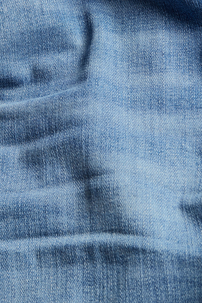Denim short met biologisch katoen, BLUE LIGHT WASHED, detail image number 4