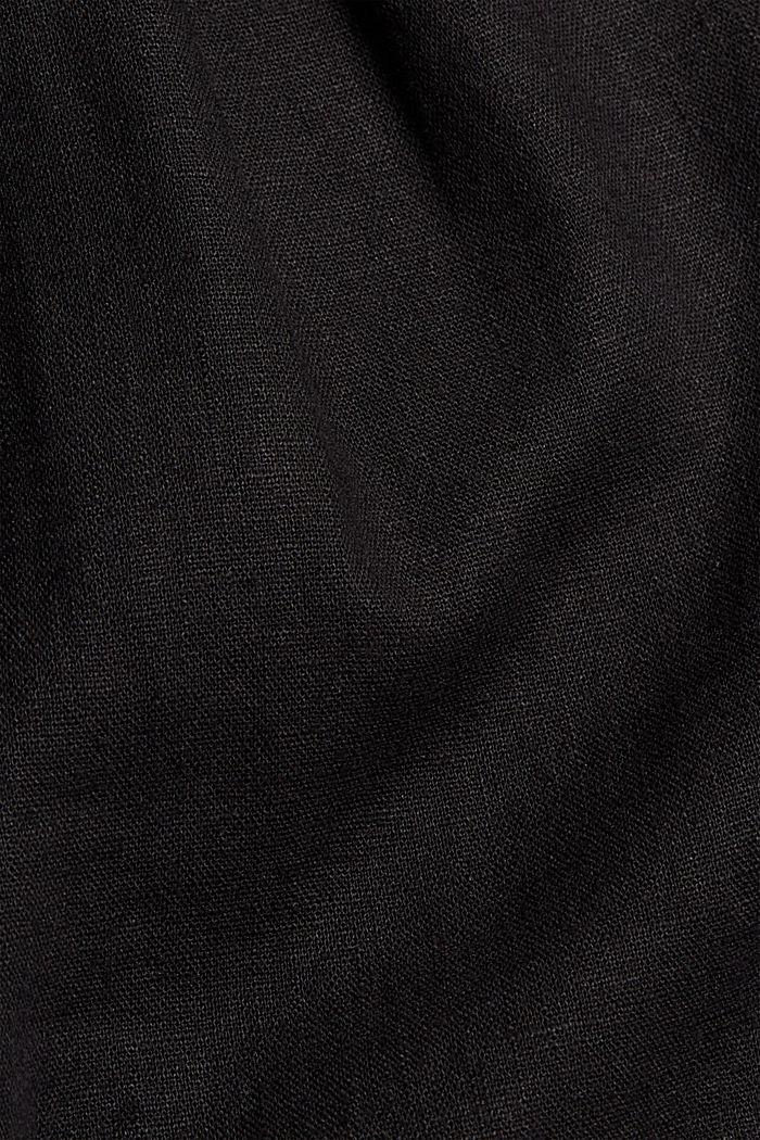 Mezcla de lino: pantalón corto con lazada, BLACK, detail image number 4