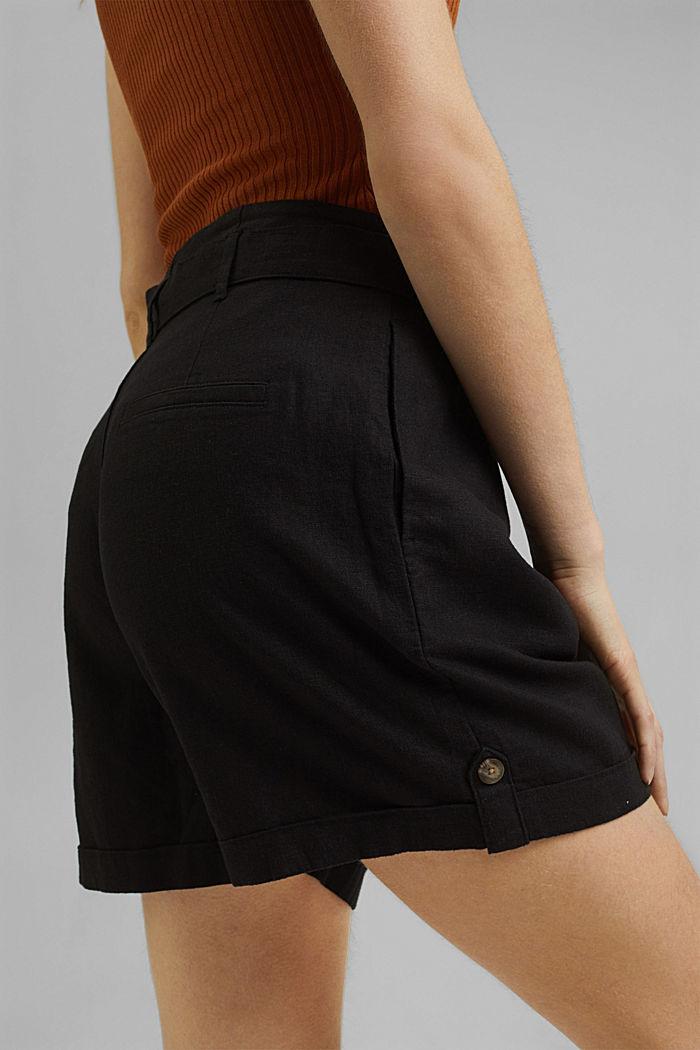 Mezcla de lino: pantalón corto con lazada, BLACK, detail image number 5