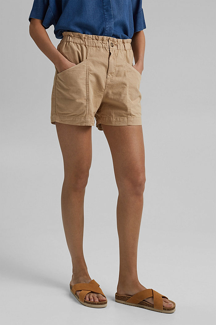 Mezcla de cáñamo Pantalón corto con cintura paper bag, SAND, detail image number 0