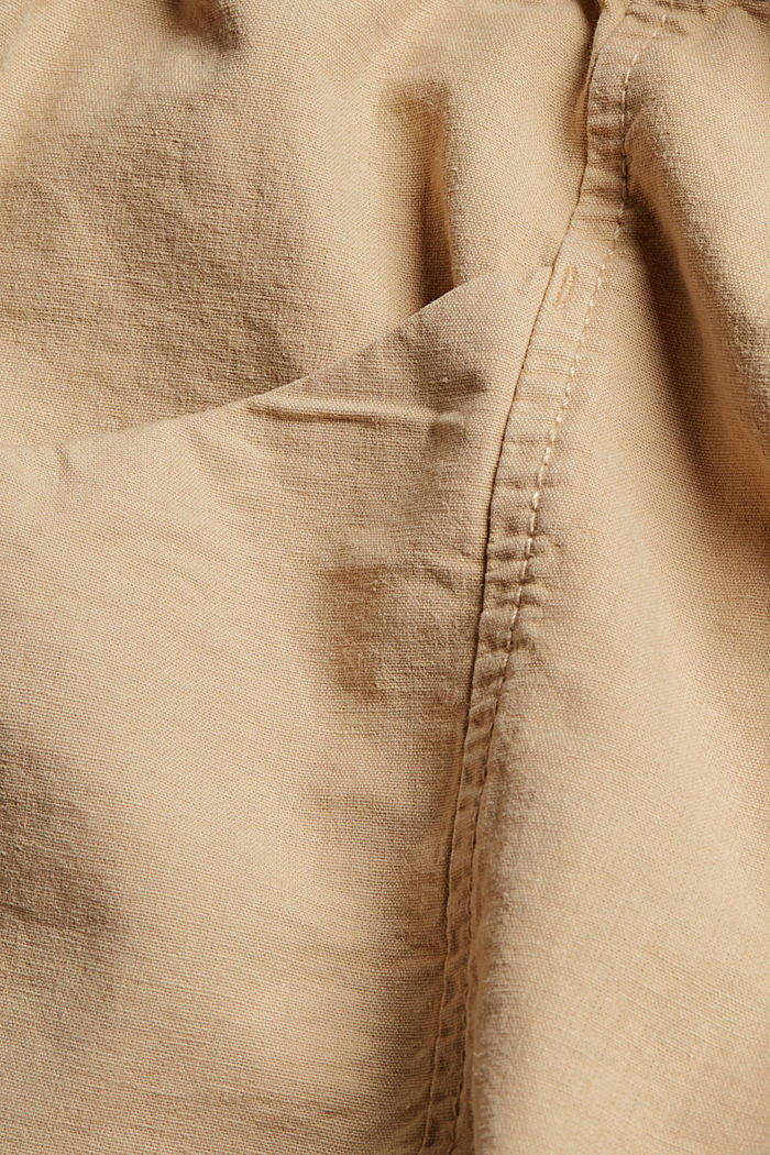 Mezcla de cáñamo Pantalón corto con cintura paper bag, SAND, detail image number 4