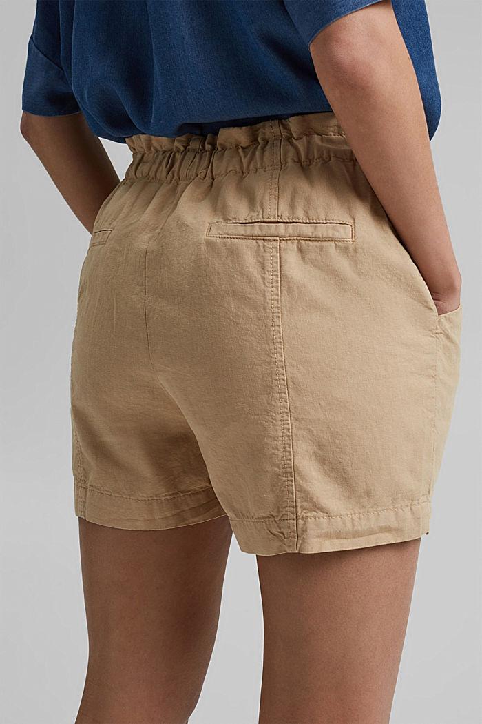 Mezcla de cáñamo Pantalón corto con cintura paper bag, SAND, detail image number 5