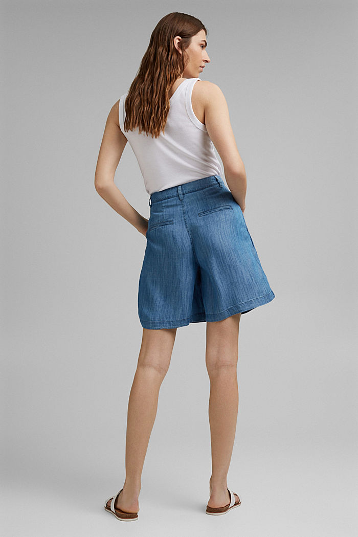 Made of TENCEL™: shorts in a denim look, BLUE MEDIUM WASHED, detail image number 3