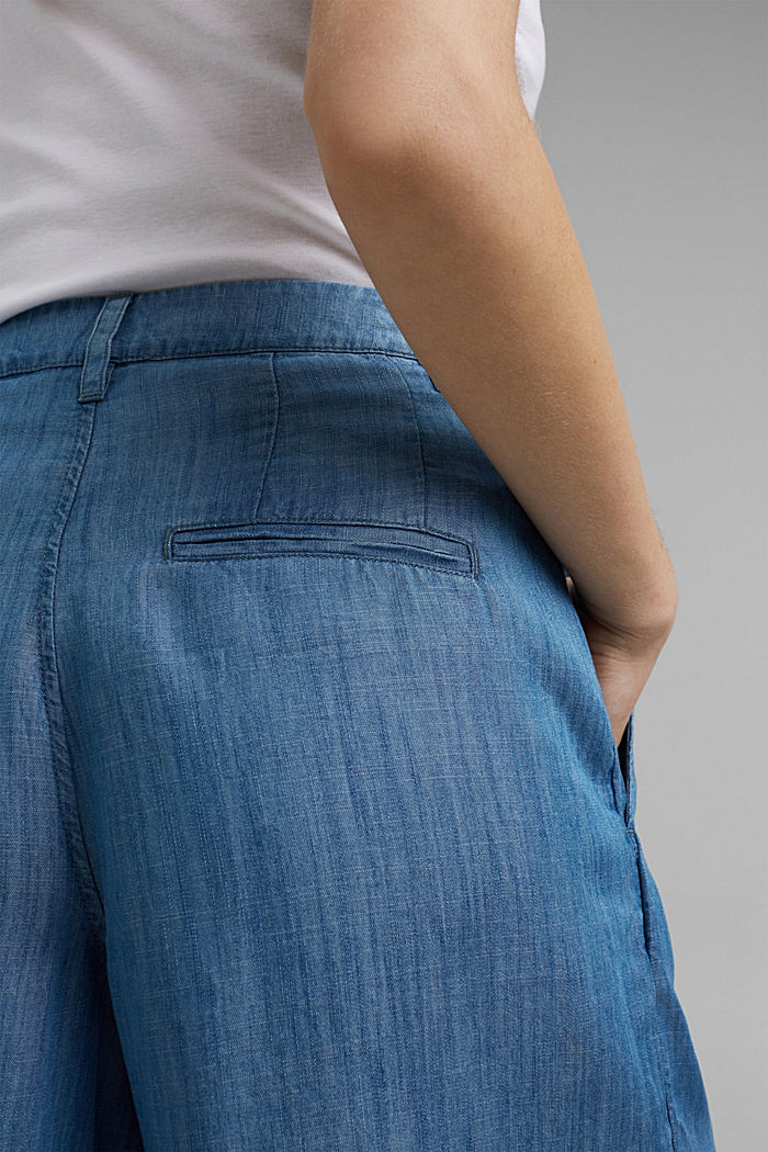 Made of TENCEL™: shorts in a denim look, BLUE MEDIUM WASHED, detail image number 2