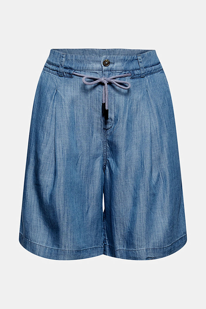 Made of TENCEL™: shorts in a denim look, BLUE MEDIUM WASHED, detail image number 5