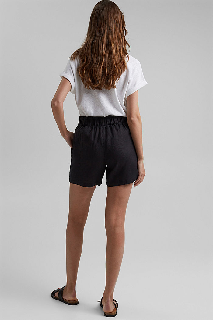 Van 100% linnen: short met paperbag-band, BLACK, detail image number 3