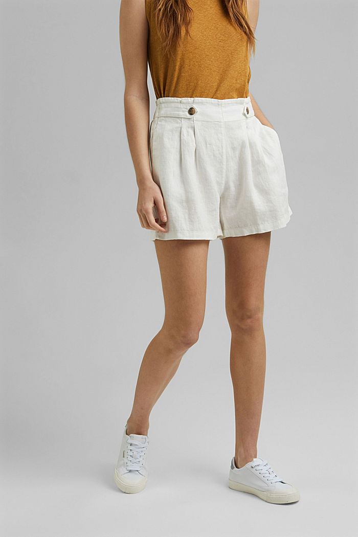 Made of 100% linen: Shorts with paper bag waistband, OFF WHITE, detail image number 0
