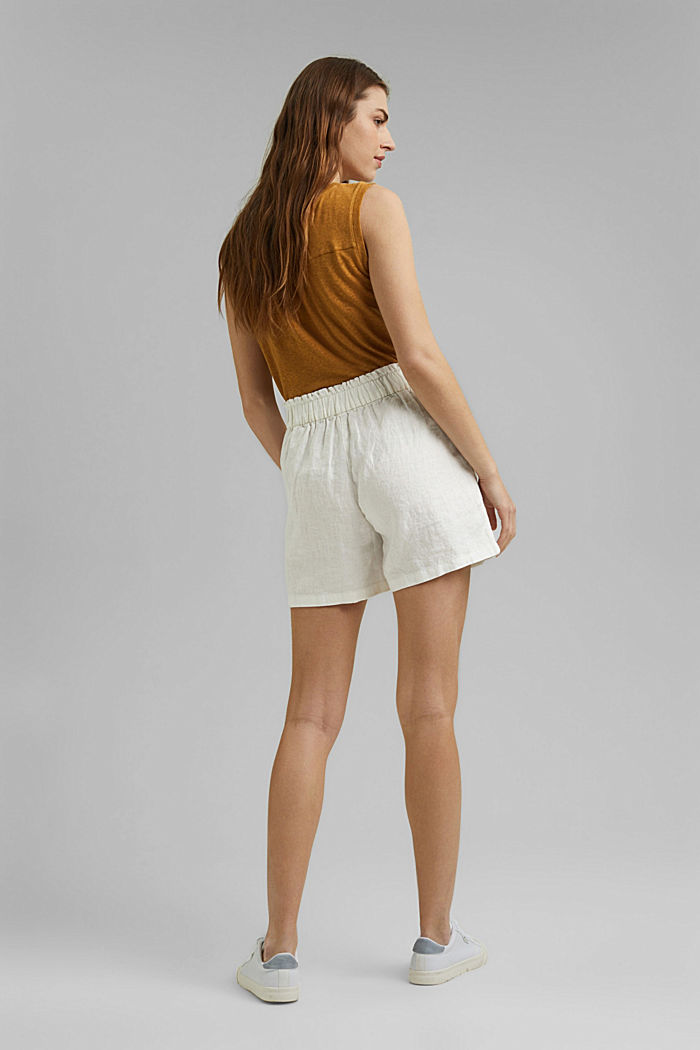 Made of 100% linen: Shorts with paper bag waistband, OFF WHITE, detail image number 3
