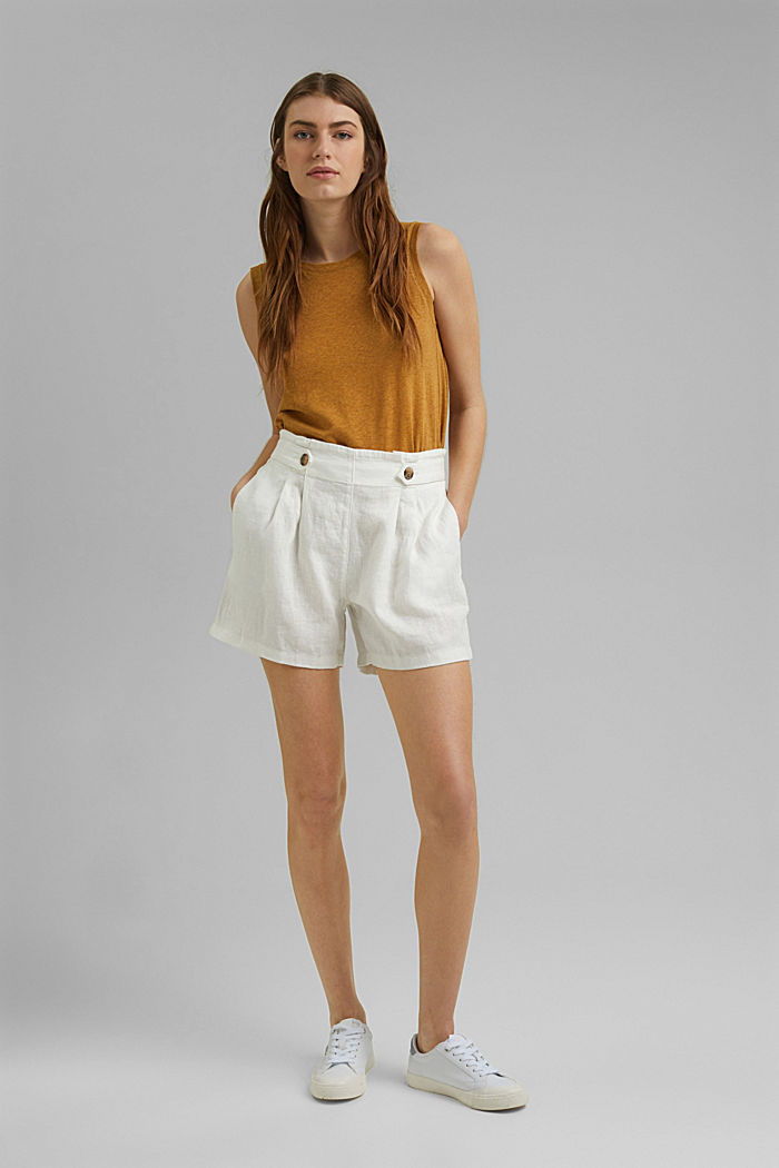 Made of 100% linen: Shorts with paper bag waistband, OFF WHITE, detail image number 1