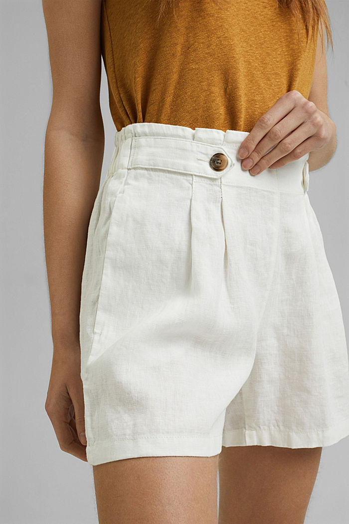 Made of 100% linen: Shorts with paper bag waistband, OFF WHITE, detail image number 2