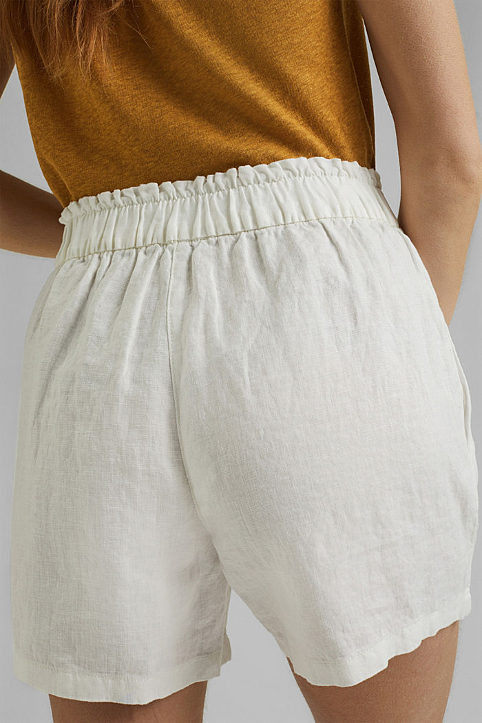 Made of 100% linen: Shorts with paper bag waistband, OFF WHITE, detail image number 5