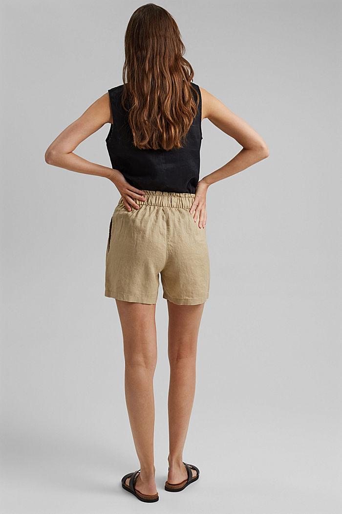 Aus 100% Leinen: Shorts mit Paperbag-Bund, SAND, detail image number 3