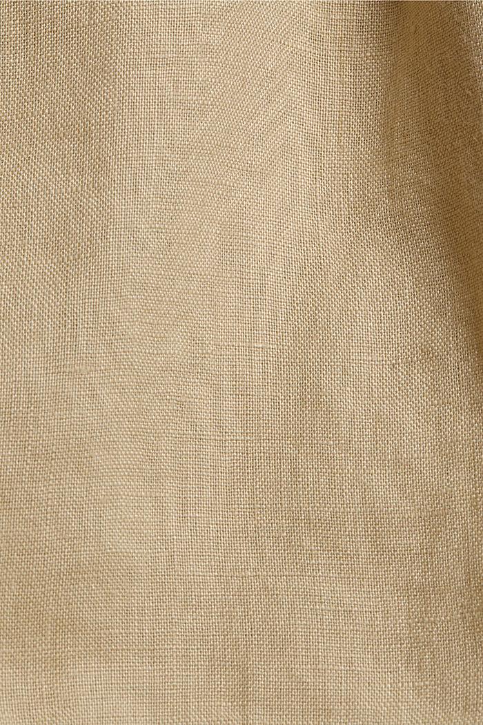 Aus 100% Leinen: Shorts mit Paperbag-Bund, SAND, detail image number 4