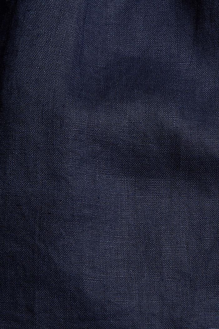 En 100% lin: le short à taille paper bag, NAVY, detail image number 4