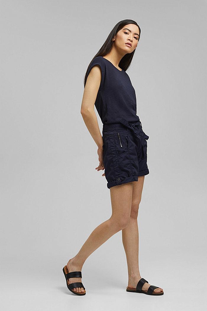 Short à ceinture à nouer, 100% coton biologique, NAVY, detail image number 1