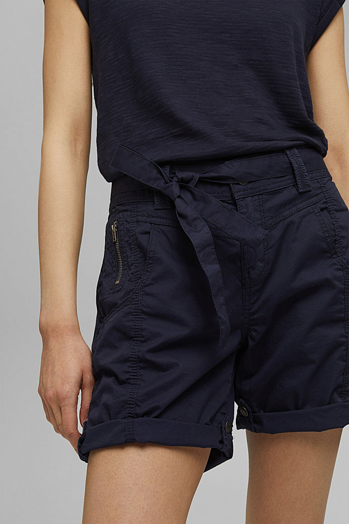 Short à ceinture à nouer, 100% coton biologique, NAVY, detail image number 2