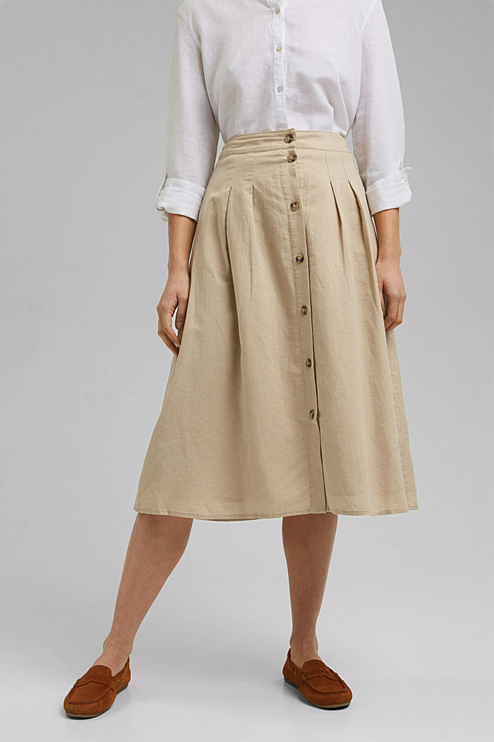 With linen: Midi skirt with button placket, SAND, detail image number 0