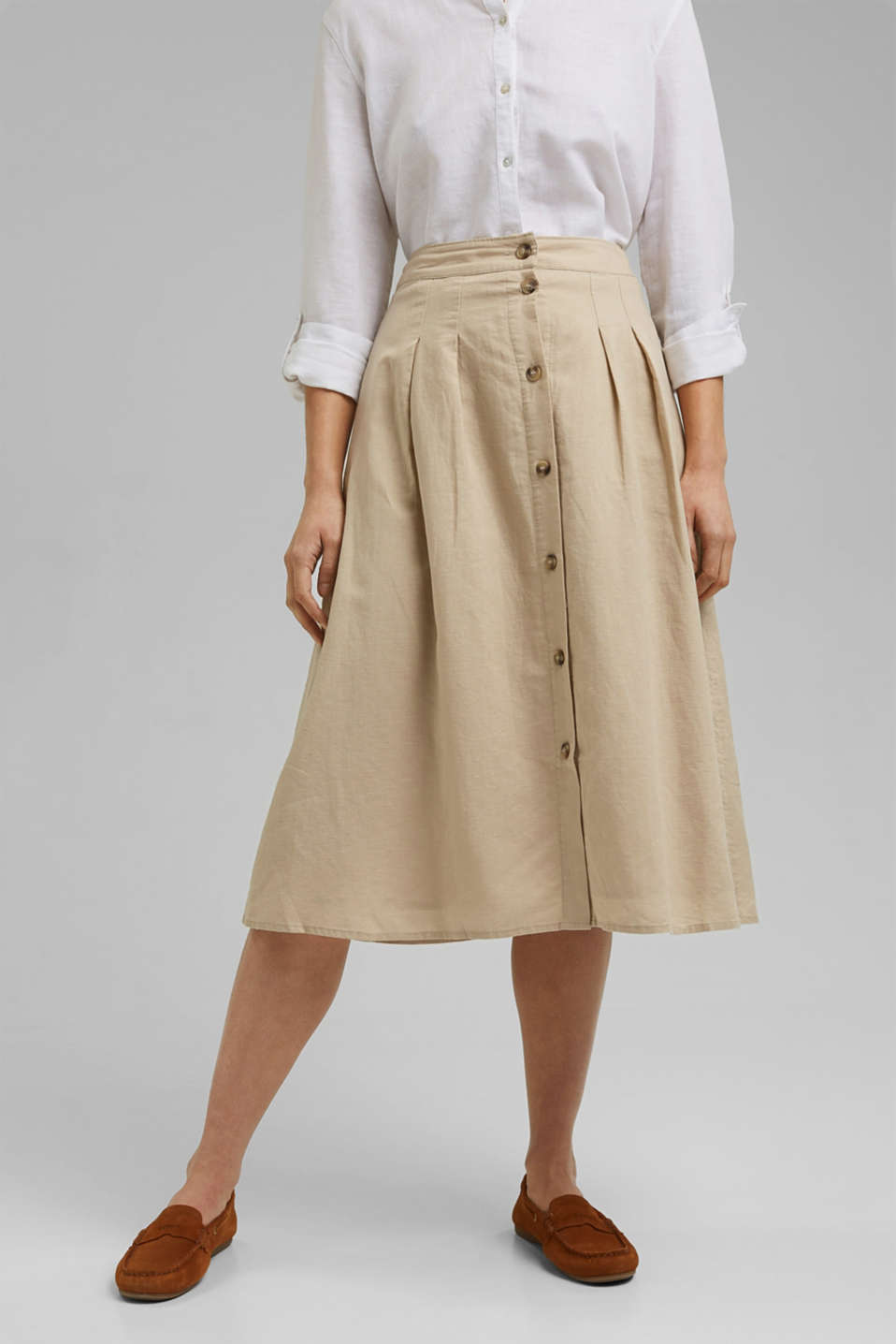 Esprit - With linen: Midi skirt with button placket
