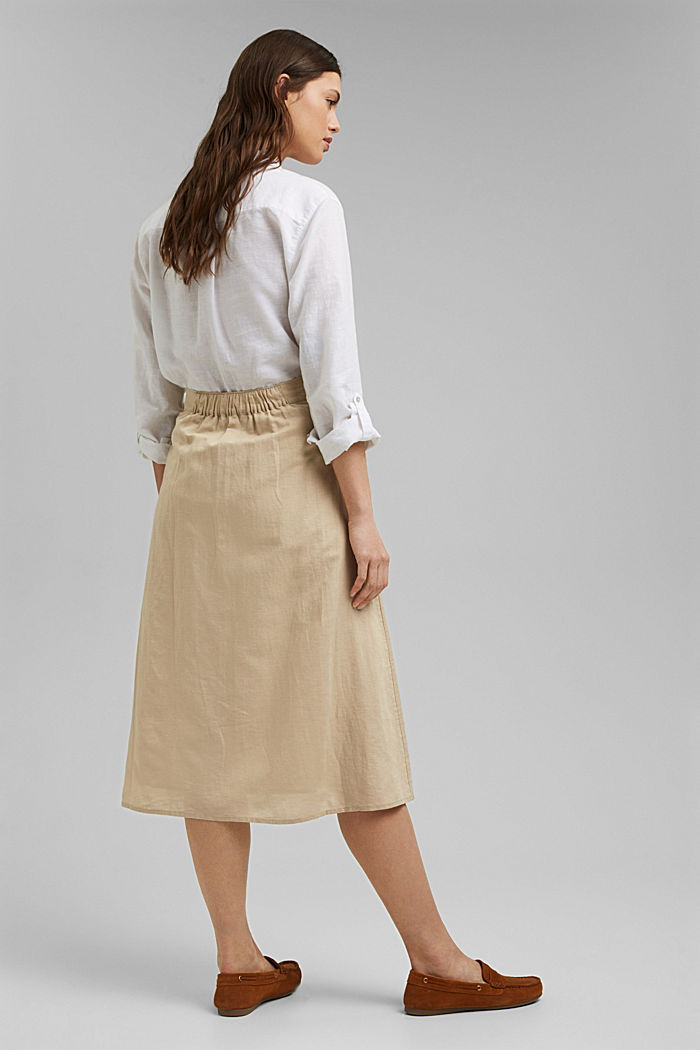 With linen: Midi skirt with button placket, SAND, detail image number 3