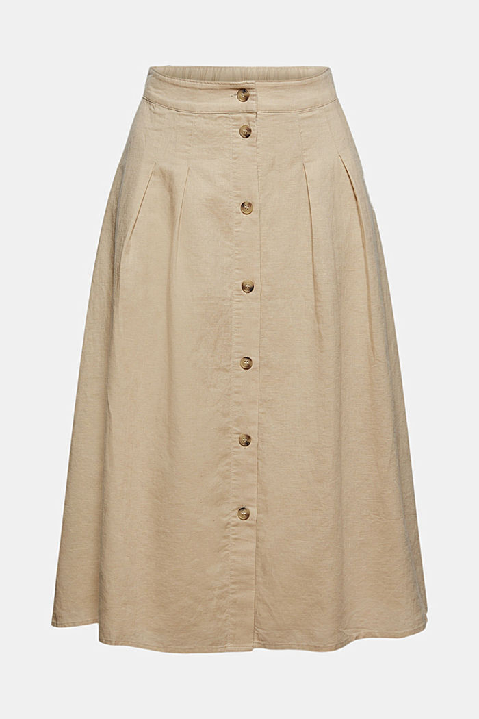 With linen: Midi skirt with button placket, SAND, detail image number 5