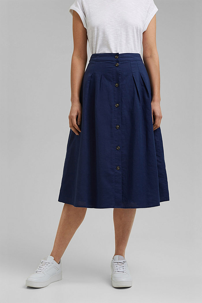 With linen: Midi skirt with button placket, DARK BLUE, detail image number 0