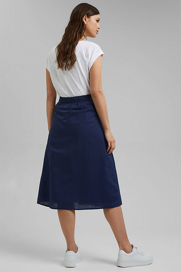 With linen: Midi skirt with button placket, DARK BLUE, detail image number 3