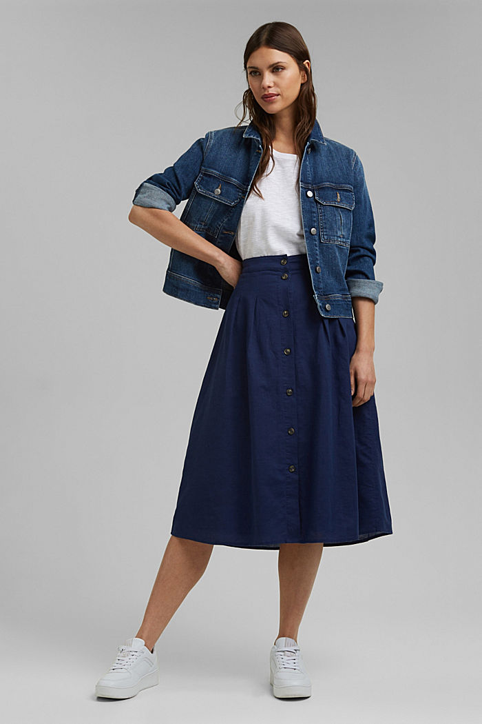 With linen: Midi skirt with button placket, DARK BLUE, detail image number 1