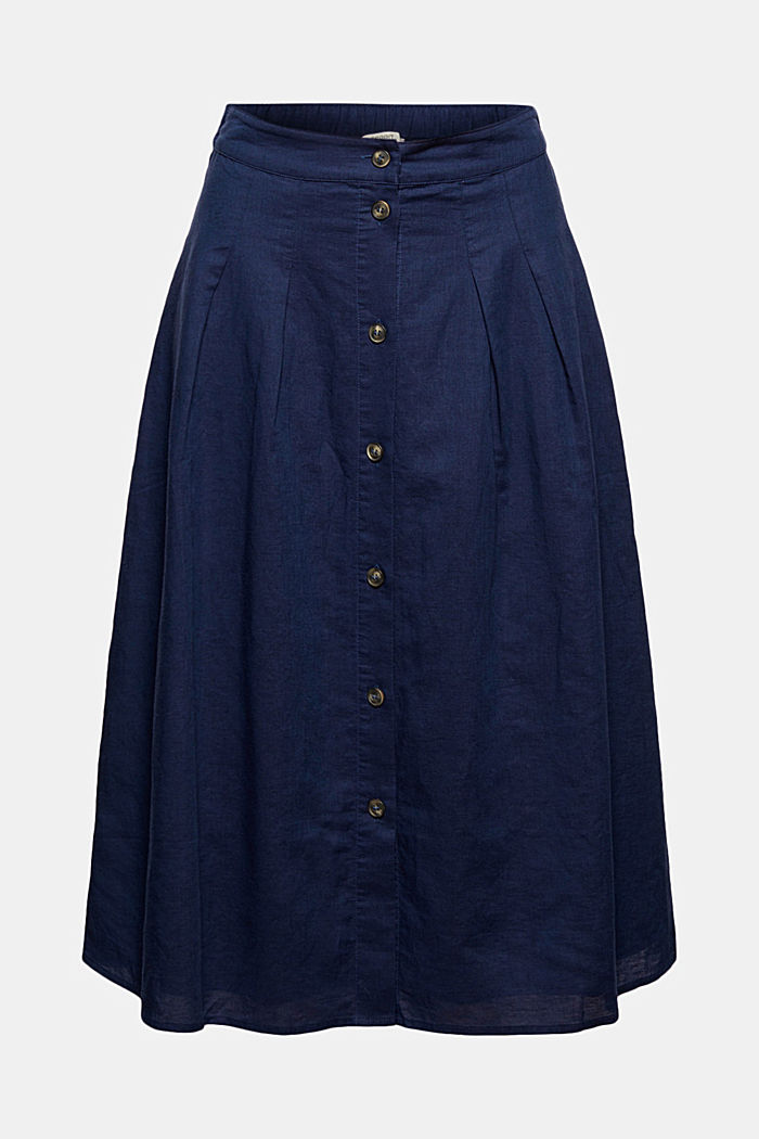 With linen: Midi skirt with button placket, DARK BLUE, detail image number 5