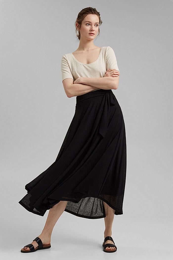 Midi-length jersey skirt, BLACK, detail image number 1