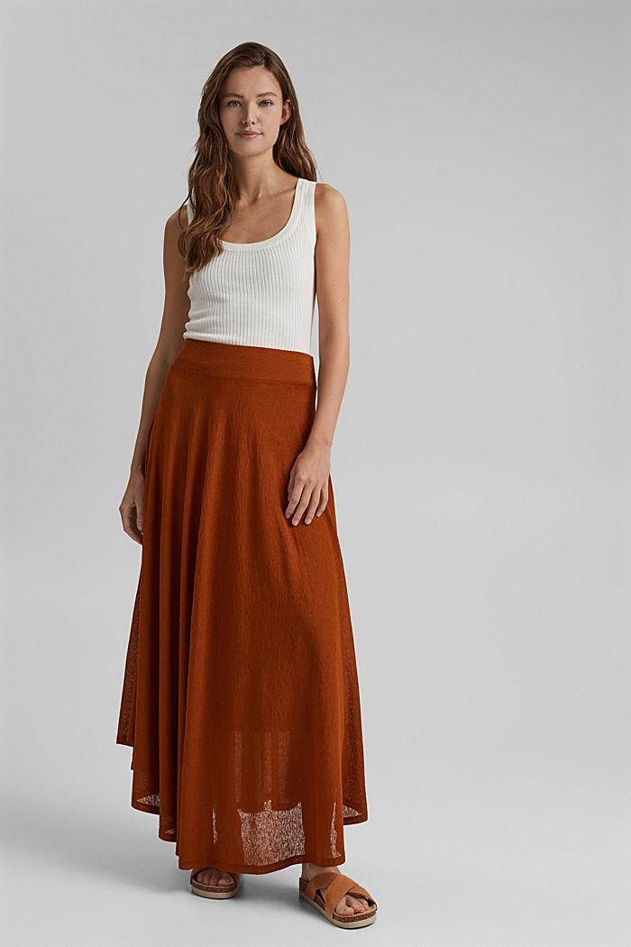 Midi-length jersey skirt, CARAMEL, detail image number 1