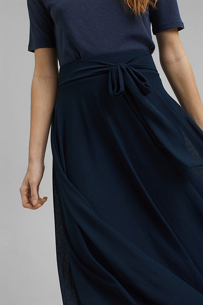 Jersey rok in midilengte, NAVY, detail image number 2