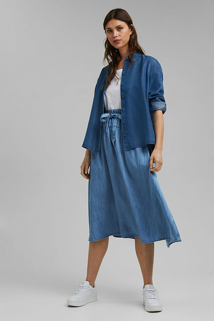 Made of TENCEL™: midi skirt in a denim look, BLUE MEDIUM WASHED, detail image number 1