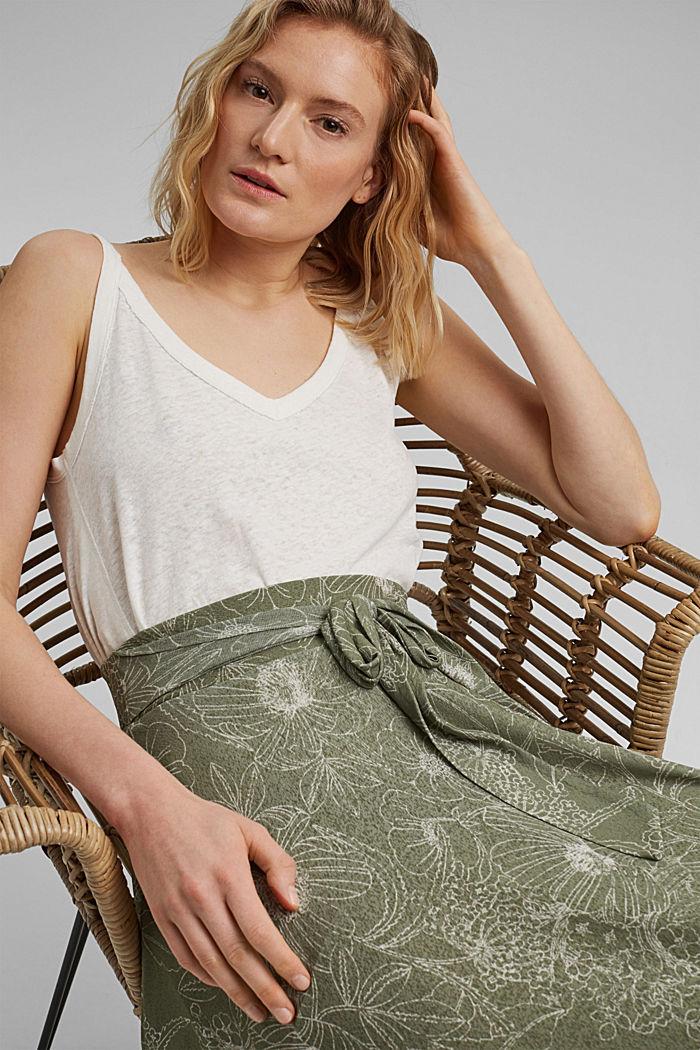 Maxi-length jersey skirt with a print