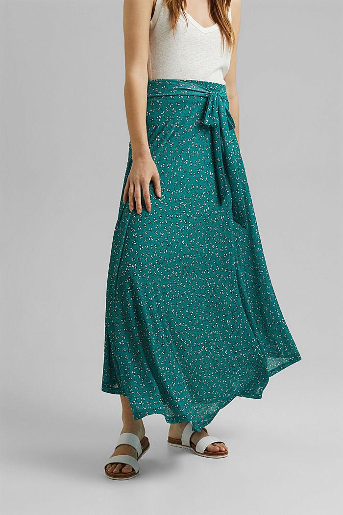 Jersey rok in maxilengte met print, TEAL GREEN, detail image number 0