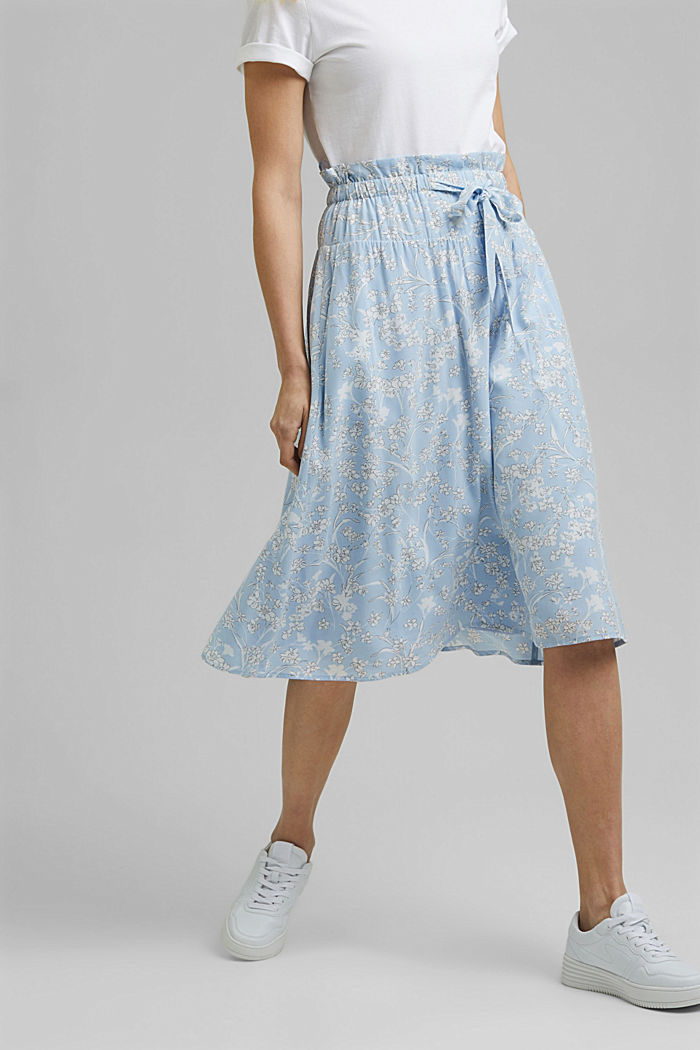 Midi skirt with an elasticated waistband and LENZING™ ECOVERO™, LIGHT BLUE, detail image number 0