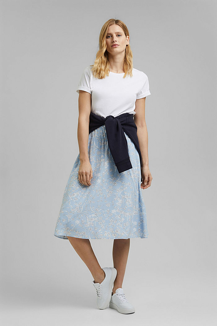 Midi skirt with an elasticated waistband and LENZING™ ECOVERO™, LIGHT BLUE, detail image number 1