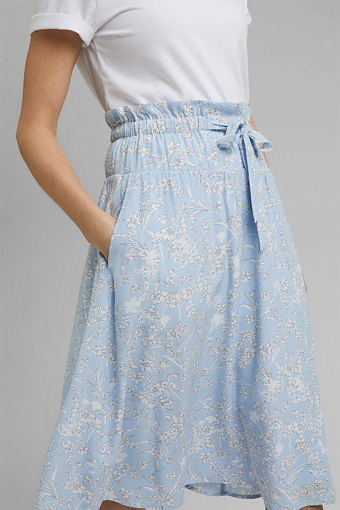 Midi skirt with an elasticated waistband and LENZING™ ECOVERO™, LIGHT BLUE, detail image number 2