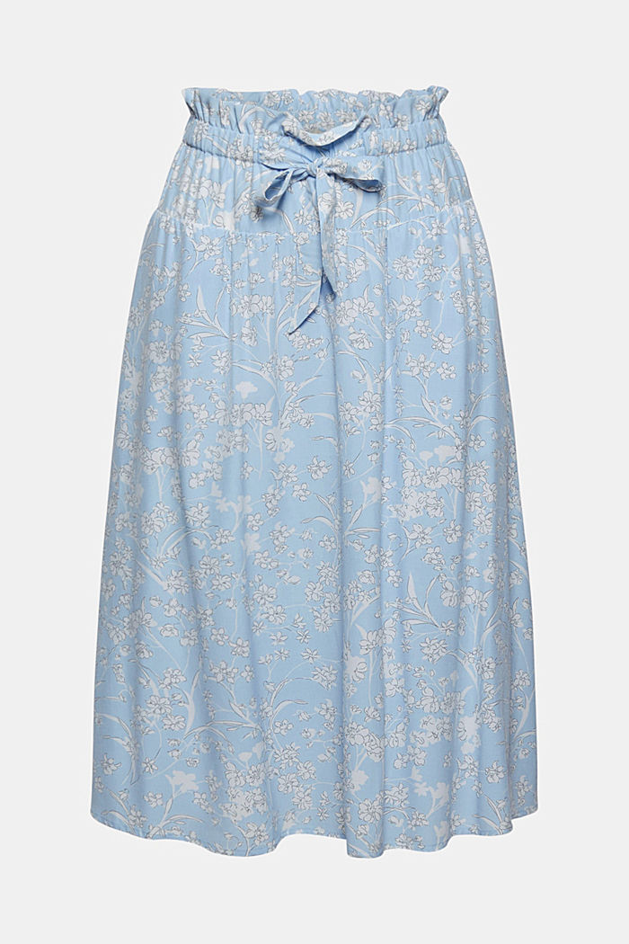Midi skirt with an elasticated waistband and LENZING™ ECOVERO™, LIGHT BLUE, detail image number 5