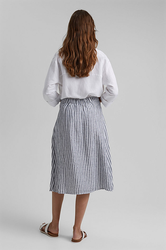 Made of linen: midi skirt with button placket, NAVY, detail image number 3