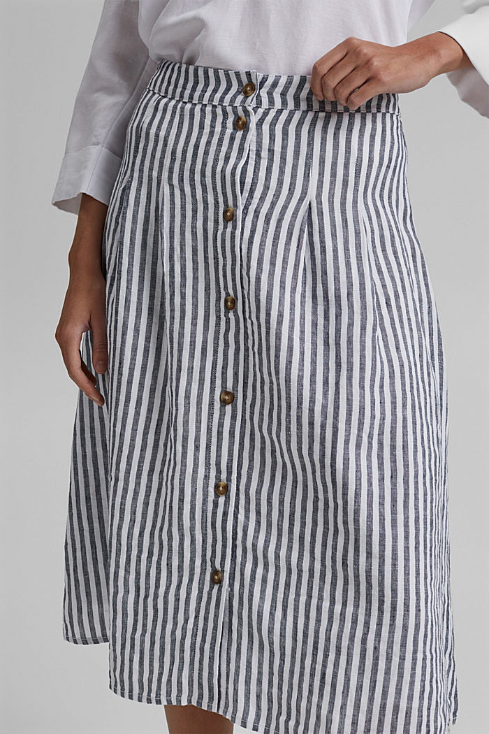 Made of linen: midi skirt with button placket, NAVY, detail image number 2