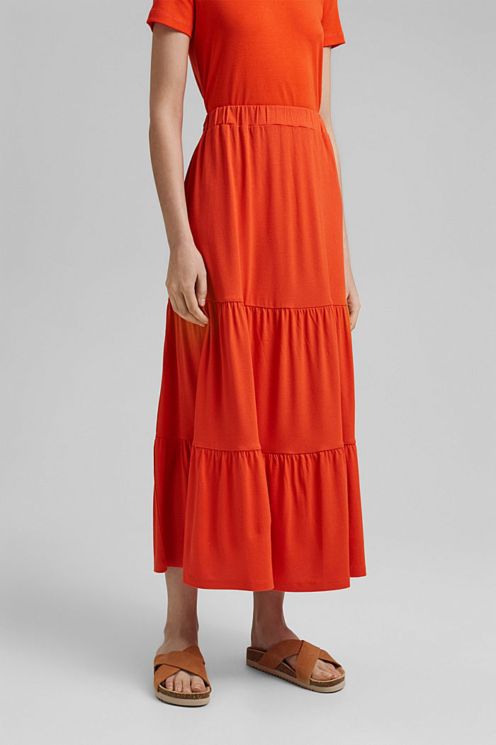 Falda de jersey en LENZING™ ECOVERO™, ORANGE RED, detail image number 0