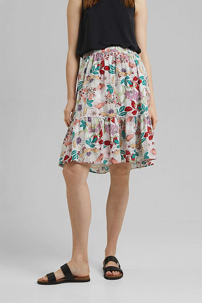 Falda con estampado de flores, 100 % algodón ecológico, OFF WHITE, detail image number 0