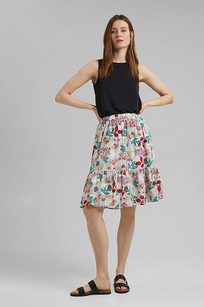 Falda con estampado de flores, 100 % algodón ecológico, OFF WHITE, detail image number 1